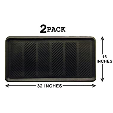 Iron Gate 2 Pack - Heavy Duty Big Foot Boot Tray Door Mat 16x32 - Indoor or Outdoor Use - Multi Purpose - 100% Rubber Construction - Entryway, Garage, Pets, Painting Projects, Clean Ups