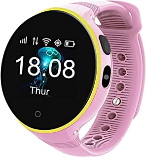 XYCSM Fitness Tracker Touch Scree Touch Smart Watch Niños - S668A 2019, Regalo de Cumpleaños - Cámara de Luz de Reloj de Alarma para Niños Sos Girl Boy Gps Voice Chat - para Android E