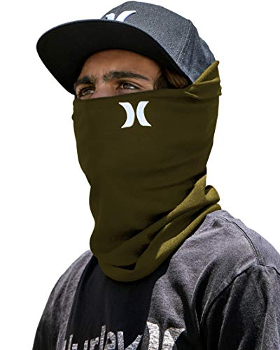 Hurley Multipurpose Neck Gaiter Face Mask with Moisture Wicking Technology, Green, 1 Size