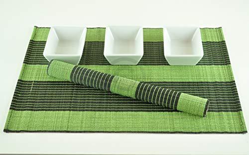 Tapis De Table En Bois De Bambou, Set De Table Fabirque' A La Main. Pack De 6, Couleurs Vert-Noir (P005)