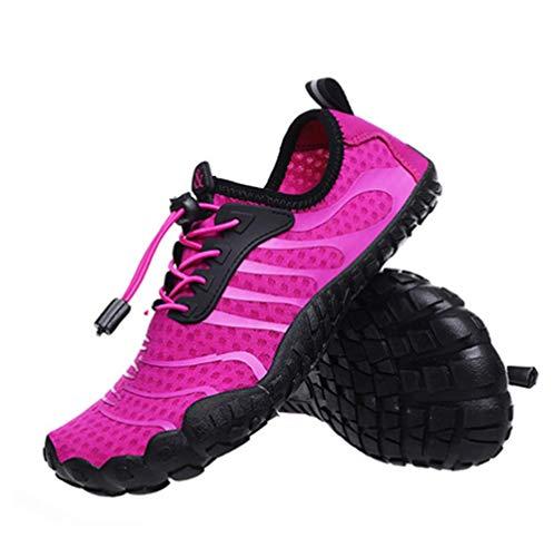 JJZXLQ Zapatos de Agua, Unisex Descalzo al Aire Libre Secado rápido Zapatos de Agua Mujeres Hombres para Aqua Beach Vacation Swim Diving Surf Yoga,Rosado,42