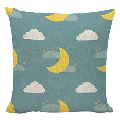 Dibujos Animados Luna Estrella Cielo Nocturno impresión Tiro Almohada Caja de algodón Lino cojín Cubierta leilims (Color : 1)