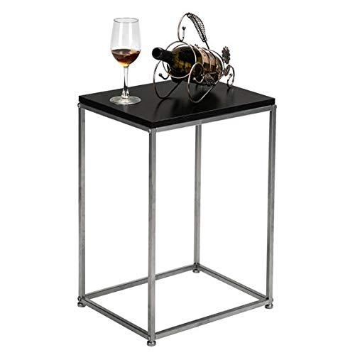 Side Table End Table Sofa Table Countertops Grey Wrought Iron Base Single Layer Snack Table Coffee Table Nightstands for Living Room Bedroom Sofa, Easy Assembly (Black)