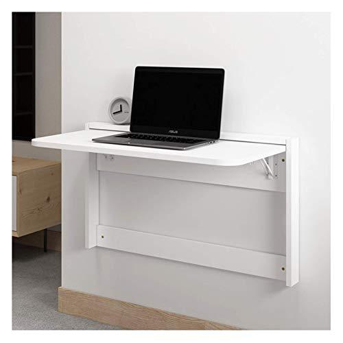 NC Escritorio Plegable, Mesa de Comedor Oculta de Madera montada en la Pared, Escritorio de computadora para Espacios pequeños, Uso de Oficina en el hogar, no Requiere ensamblaje (Blanco) (L)