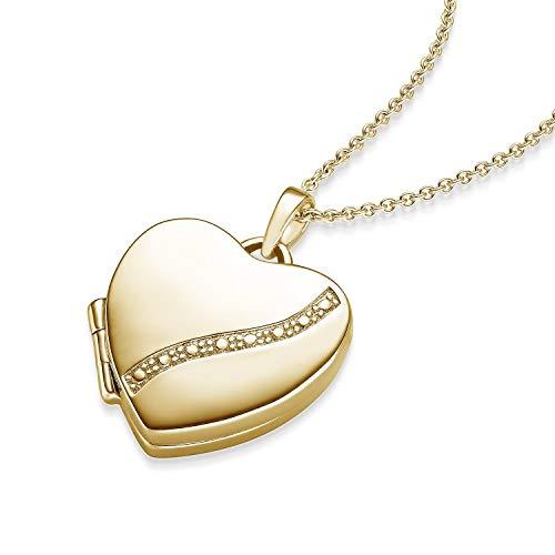 Herz Medaillon Gold Herzkette Damen-Kette Halskette Foto Gelbgold vergoldet Herz-Anhänger goldenes Gold-Kette farben zum Öffnen aufklappbar Medallion Medalion Medaillons Amulett FF03 VGGG45