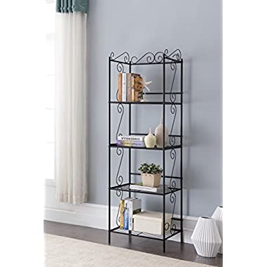 Black Metal 4-tier Free Standing Bakers Rack Dining, Laundry Room Bookcase Bookshelf Organizer 70 H