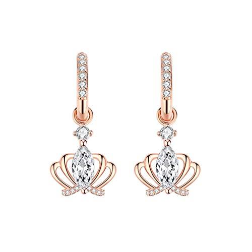 WENMENG2021 Pendientes de Diamantes Cara roja Pendientes de Plata de Ley Prima Neta Femenina Pendientes Pendientes de la Corona Delgadas Pendientes Colgantes