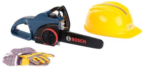 Theo Klein 8253 - Bosch Kettensägeset mit Helm und Handschuhen, profiline blau, Spielzeug