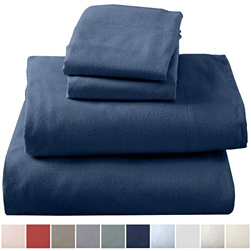 Great Bay Home Extra Soft 100% Turkish Cotton Flannel Sheet Set. Warm, Cozy, Lightweight, Luxury Winter Bed Sheets in Solid Colors. Nordic Collection (Full, Navy)