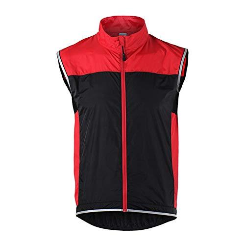 HARMON Ärmellose Fahrradweste Unisex Atmungsaktive Motorrad-Weste, Reißverschlusstaschen, Winddichte, wasserdichte, Reflektierende MTB-Rennradbekleidung,Rot,L