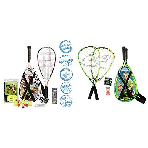 Speedminton® S900 Set – Original Speed Badminton/Crossminton Profi Set mit Carbon Schlägern inkl. 5 Speeder®& Junior Set – Original Speed Badminton/Crossminton Kinder Set inkl. 2 Fun Speeder®, Tasche