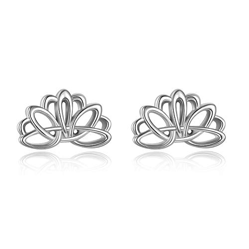 ONEFINITY Lotus Flower Earrings Sterling Sliver Lotus Stud Earrings for Women Celtic Knot Lotus Flower Jewelry Christmas Gifts for Women