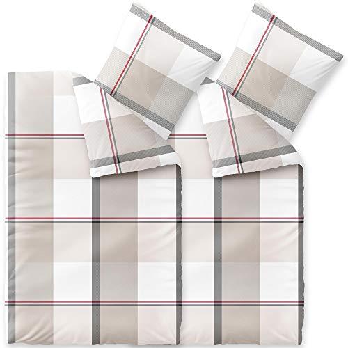 CelinaTex Touchme Biber Bettwäsche 135 x 200 cm 4teilig Baumwolle Bettbezug Svea Karo weiß beige grau