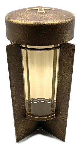 Grablaterne Grablampe Grablicht aus Metall in hochwertiger Bronze -optik 24 cm