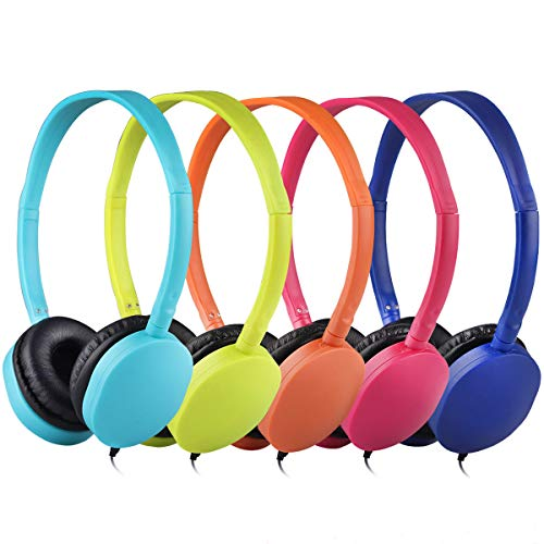 Wholesale Bulk Kids Headphones 50 Pack Multi Colored for School Classroom Students Kids Children Teen and Adults (Mixed Colors)