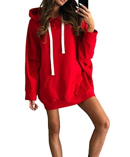 Simple-Fashion Otoño Invierno Mujer Largas Sudaderas Vestido Top Moda Vestido de Suéter Sweatshirt Mini Vestidos de Partido Casual Manga Larga Túnicas Pulóver Jersey con Capucha Jerséis Hoodie