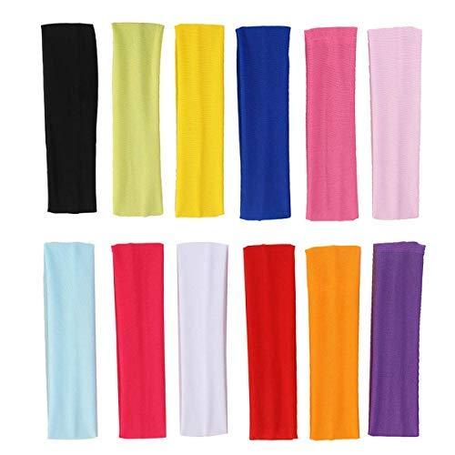 Yoga Baumwolle Stirnbänder,Sport Stirnband Set Elastic Haarband Damen für Frauen Mädchen Sport,Yoga,Pilates,Radfahren 12 Farben