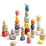 36PCS Wooden Balancing Stacking Stones Rocks, Wood Building Blocks Set, Sorting and Stacking Games, Lightweight Natural Colorful Toys, Preschool Learning Educational Puzzle Toys for Kids 3 Years Up
