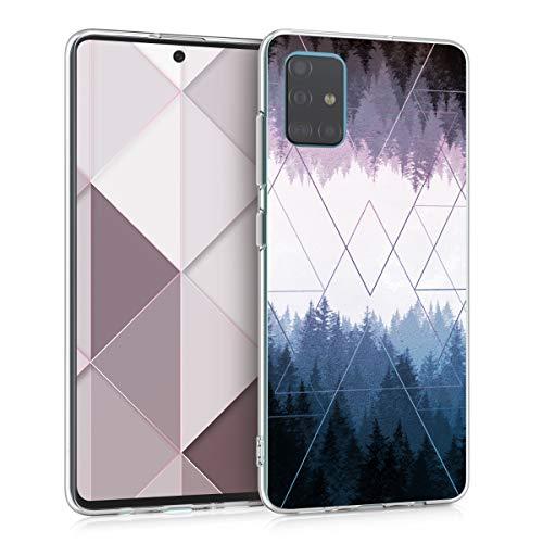 kwmobile Hülle kompatibel mit Samsung Galaxy A51 - Handyhülle - Handy Case Wald Dreiecke Blau Dunkelblau Violett