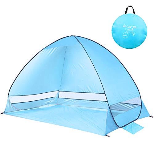 NOTENS Strandmuschel, Extra Leicht Automatisches Strandzelt Pop Up Tragbar Wurfzelt UV-Schutz Familien Portable Beach Zelt für Camping/Angeln/Strandzeiten