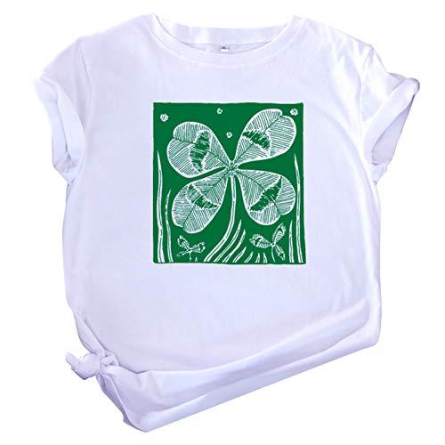 BUKINIE Women Blouses Plus Size, Shamrock Clover Print Loose Tops Short Sleeve T Shirt Soft Tee for Women Summer