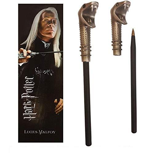 Noble Collection - Penna Bacchetta di Lucius Malfoy e Segnalibro - Harry Potter Ufficiale (RIF:NN7984)