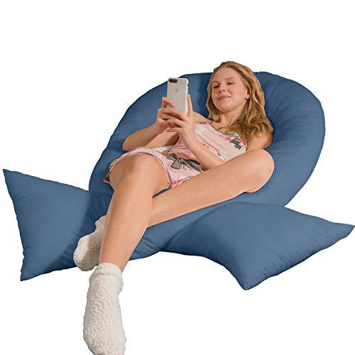 Traumreiter Jumbo XXL Seitenschläferkissen mit Bezug tauben-blau I Schwangerschaftskissen U Form Full Body Pillow Seitenschläfer Kissen für Schwangere Lagerungskissen