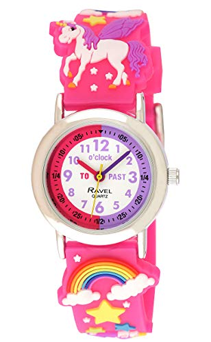 Ravel Girl's Pink Unicorn Time Teacher Watch