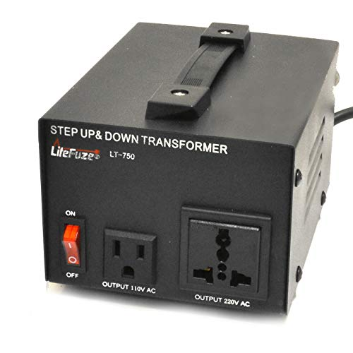 LiteFuze LT Series 750 Watt Heavy Duty Voltage Converter Transformer - Step Up/Down 110/120/220/240V - Fully Grounded Cord - Patented Universal Output Socket