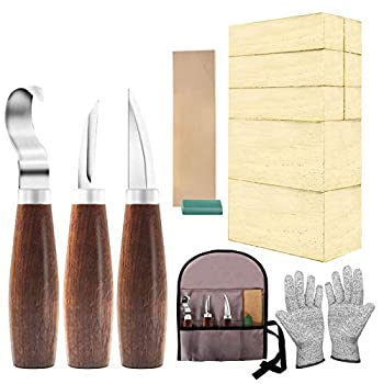 Wood Whittling Kit with Basswood Wood Blocks Gifts Set for Adults and Kids Beginners Wood Carving Kit Set Includes 3pcs Wood Carving Knife & 8pcs Blocks & Gloves for Widdling Kit