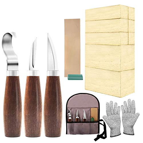 Wood Whittling Kit with Basswood Wood Blocks Gifts Set for Adults and Kids Beginners, Wood Carving Kit Set Includes 3pcs Wood Carving Knife & 8pcs Blocks & Gloves for Widdling Kit