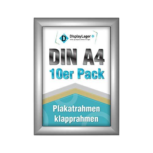 DisplayLager - 10 Klapprahmen DIN A4 | Plakatrahmen mit 25mm Silber alu Profil | inkl. entspiegelter Schutzscheibe und Befestigungsmaterial | Wechselrahmen/Posterrahmen/Bilderrahmen mit Klicksystem