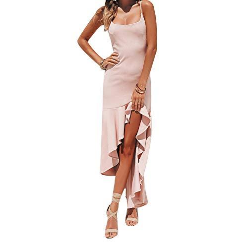 HaiQianXin Vestido de Color sólido de Las Mujeres Sexy Correa de Espagueti sin Respaldo asimetría Dobladillo hasta la Rodilla Vestido para el Verano (Color : Pink, Size : XL)