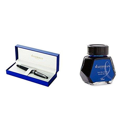 Waterman Perspective - Pluma estilográfica en caja de regalo, acabado en cromo lacado con detalles chapados en oro, color negro + Waterman 723574 - Bote de tinta (50 ml), azul