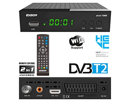 puissant EDISION PICCO T265, DVB-T2 haute définition complet, récepteur H.265 HEVC, support WiFi, infrarouge 2in1…