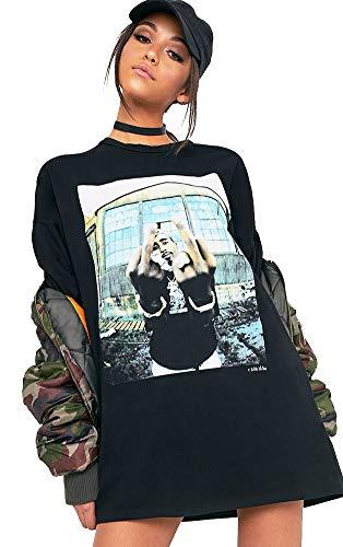 Damen 100% Baumwolle Tupac Schwarz bedrucktes Kurzarm T-Shirt Kleid (38)