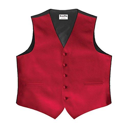 Red Satin 5 Button Full Back Vest