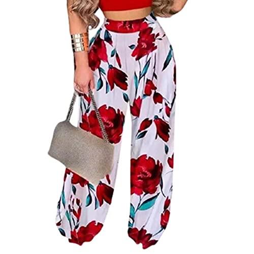 Moda De Primavera Y Verano Pantalones Casuales para Mujer Pantalones Sueltos con Estampado De Flores para Mujer Pantalones Sueltos para Mujer