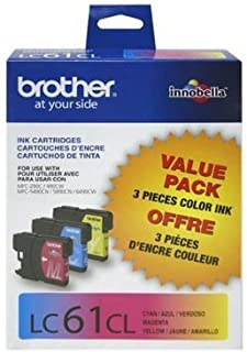 Brother LC61 Ink Cartridges (Cyan, Magenta, Yellow, 3-Pack) in Retail Packaging