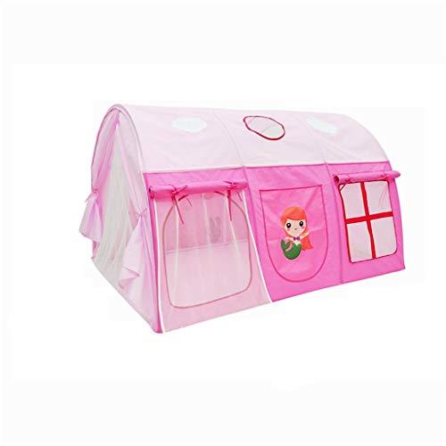 Tents Mädchen Bett Zelt, Prinzessin Tunnelzelt Kinder Schlafzimmer Play House Rosa Spiel-Zelt mit Spaß-Cartoon-Muster (145 * 105 * 90 cm) (Color : Pink, Size : 145 * 105 * 90CM)