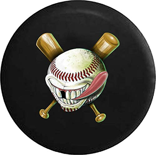 Caps Supply Spare Tire Cover Baseball Softball Ball Bat Funny Face Size 35 inch