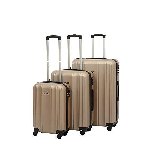 3-delige kofferset DOHO trolley koffer set van ABS, champagne (beige) - DH3012