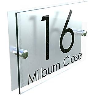 K Smart Sign MODERN HOUSE SIGN PLAQUE DOOR NUMBER STREET GLASS EFFECT ACRYLIC ALUMINIUM NAME:Tourlombok-piranti