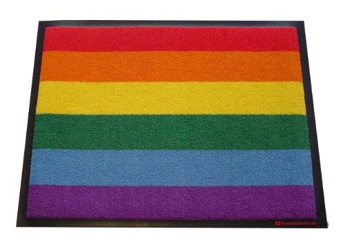 Dreckstückchen wash&go, Fußmatte mit Aufdruck: Regenbogen, robuste Schmutzfangmatte, maschinenwaschbar bei 40 Grad
