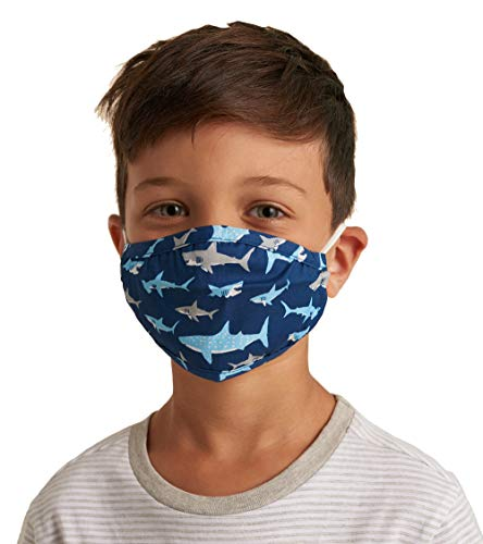Little Blue House By Hatley Unisex-Kinder Double Layer Face Mask with Ear Elastic Mode-Schal, Shark Frenzy, Einheitsgröße