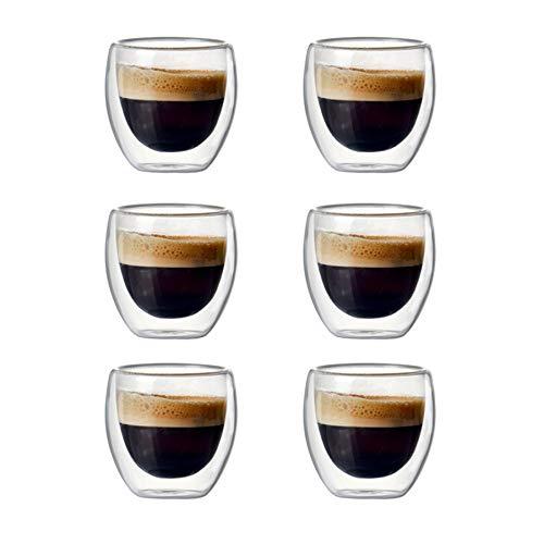 Basage 6 Juegos de Juegos de Tazas de Café de Vidrio Hueco de Doble Capa de 80 Ml para Beber Té, Café, Tazas para Beber