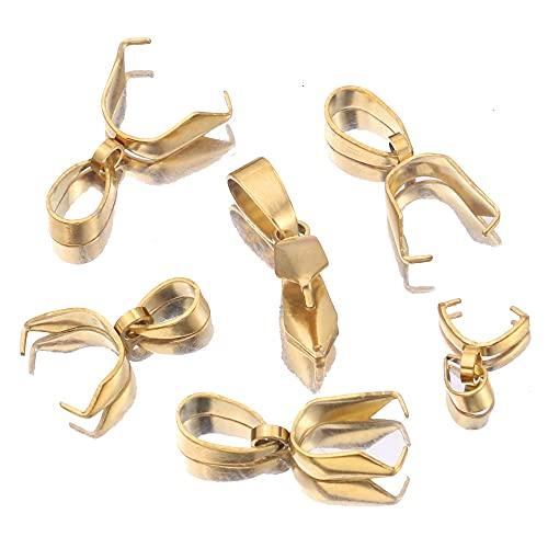 PJ 10pcs / lote oro acero inoxidable blanqueador clip fianza Clasps Bead Colgante Conector Hallazgos para BRICOLAJE Collar de joyería de fabricación de suministros. TL821 ( Color : Gold 4x16mm )