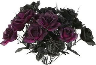 1 Black & 1 Purple Rose Bush Bouquet Floral Halloween 6 Stem 14