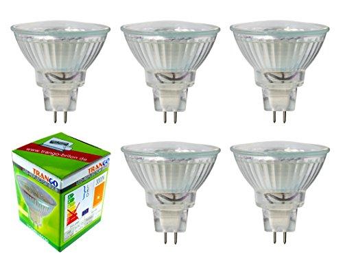 Trango 5er Set LED Leuchtmittel mit MR16 Fassung 5TGMR16030 zum Austausch von herkömmlichen Halogen Leuchtmittel MR16 I GU5.3 I G4 12 Volt 3000K warmweiß Glühlampe, Reflektor Lampe, LED Birnen