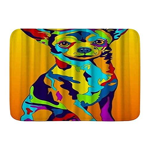 Alfombra de baño para baño, diseño de perro Chihuahua colorido arte, antideslizante acuarela alfombra alfombra suave alfombra de felpa decoración del hogar